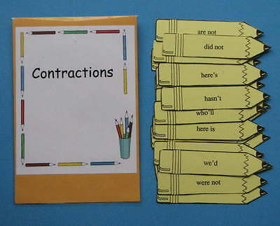 Teacher Made Literacy Center Resource Contractions