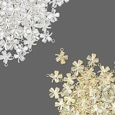 Lot of 144 Little Plated Brass Metal Four Leaf Clover Shamrock Drop Charms
