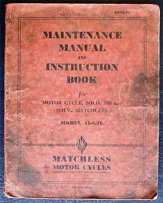 MATCHLESS 41-G31 350cc SOLO MOTORCYCLE WORKSHOP MANUAL HANDBOOK UK ARMY TYPE