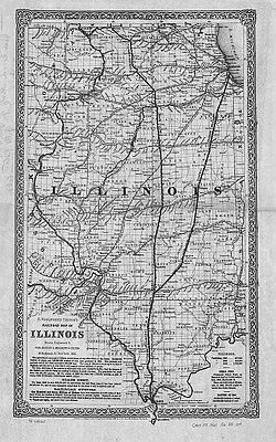 1861 IL MAP KENDALL KNOX LAKE LA SALLE LAWRENCE LEE LIVINGSTON LOGAN COUNTY huge