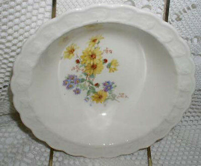 Taylor Smith & Taylor Cereal Soup Bowl TST Yellow Blue Flowers Floral Scallop