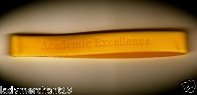 """""""Academic Excellence"""" Yellow Laser Engraved Silicone Wristbands/Lot of 25/NEW!"""