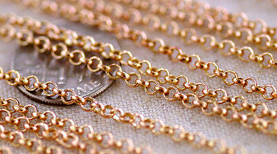 2.5mm Solid Red Brass Rolo Round Link Chains c189(2ft)
