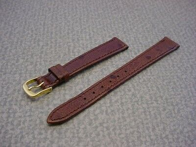 Ladies Speidel NOS 13mm #R237530MBR Brown Ostrich Grain Leather Watch Band W2210
