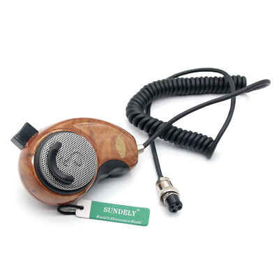 Mic Wood Grain HG-M84W 4-Pin Noise Cancelling CB Microphone for Cobra Uniden