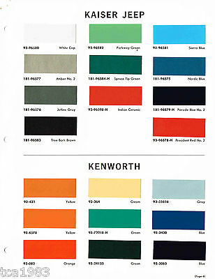 1965 KAISER JEEP Truck Color Chip Paint Sample Brochure/Chart: DuPont