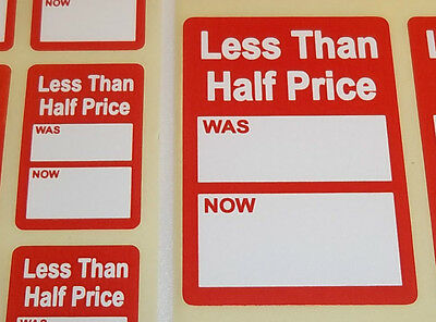 Bright Red LESS THAN HALF PRICE Was / Now Point Stickers Swing Tag Sticky Labels