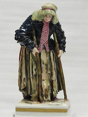 FABULOUS 19 c  SIGNED CAPODIMONTE FIGURINE OLD LADY ON CRUTCHES
