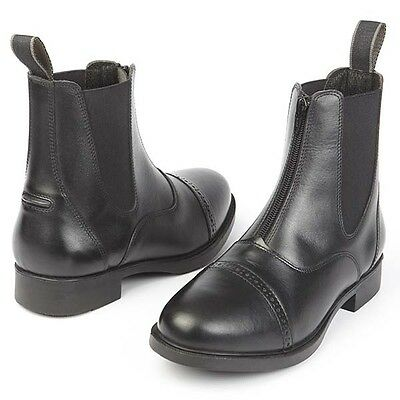 Adults Zip Fronted Jodhpur Boots Paddock Boot Brogue Detail Black Sizes 3.5 - 11