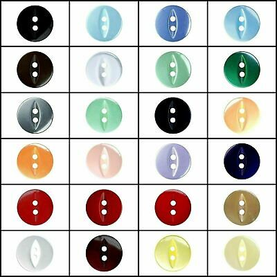 Fish Eye Buttons - 2 Hole Polyester Sew Through - 20 Colours