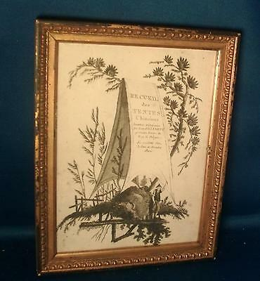 Antique 19th c. French Print Chinese Tents Period Carved Gilt Wood Frame Toile