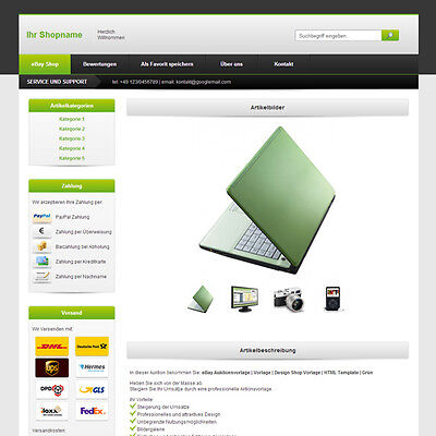 eBay Template | Listing Templates | Design ShopTemplate | HTML Template | Green