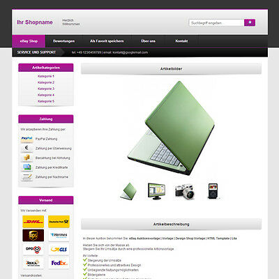 eBay Template | Listing Templates | Design ShopTemplate | HTML Template | Purple