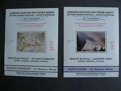 "Goats,Mountain 2 non-postal souvenir sheets limt.edition Thomas J.Bowen""signed"""