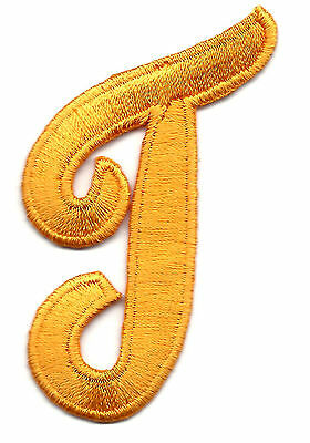 "LETTERS Golden Yellow Script  2/"" Letter /""K/"" Iron On Embroidered Applique"