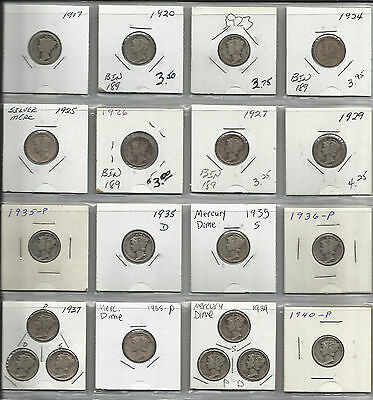 1917-1940~~20 Coin Lot~~Mercury Dimes~No Duplicates