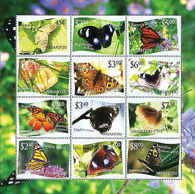 """Niuafo'ou 2012 Butterfly Definitives Stamp Sheetlet- Dropped """"L"""" Variety"""