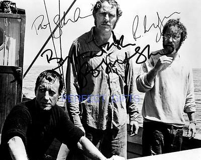 Jaws Cast X3 Roy Scheider Robert Shaw Signed 10X8 Pp Repro Photo