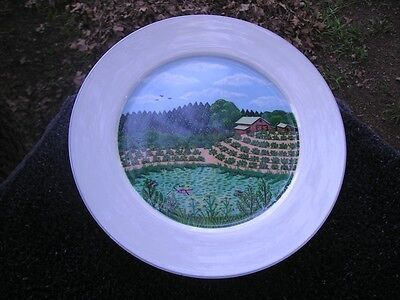 Block Spal Napa Valley River Farm Barn Rows Vegetables Pond Boat Salad Plate