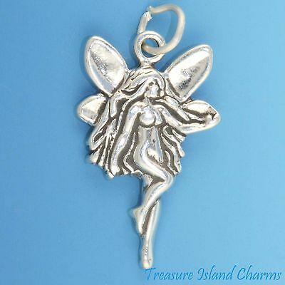 Butterfly Silhouette Outline .925 Sterling Silver Charm Pendant MADE IN USA
