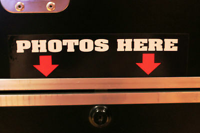 """""""Photos Here"""" Photo Booth Stickers for Your Portable Photo Booth"""