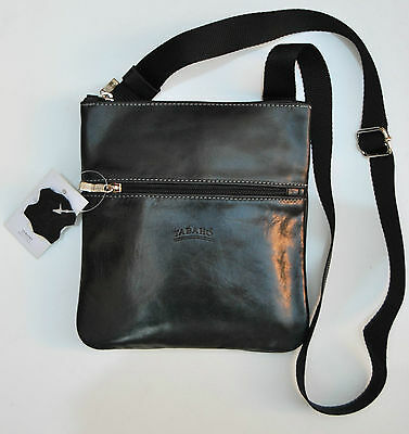Tracolla Borsello Uomo Vera Pelle Nero Made In Italy Men Shoulder Bag Leather211