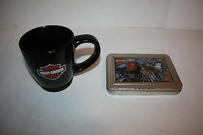 Harley Davidson Playing Cards In Collectible Tin And Ceramic Coffee Mug