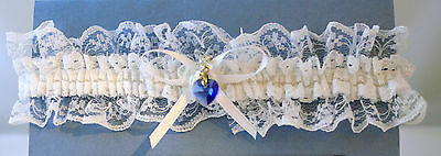 Something Blue White or Blue Garter with Blue Crystal Heart Charm