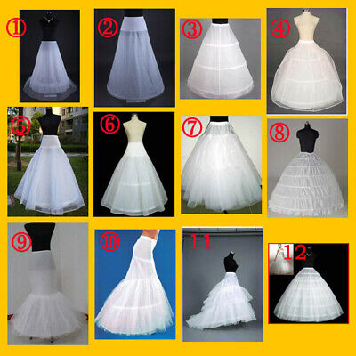 White Bridal Wedding Dress Prom Petticoat Underskirt  Skirt Crinoline S-Xl