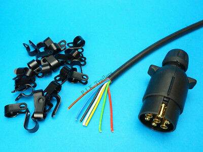 10 Metres of 7 Core Cable with Clips & 7 Pin 12N Towing Plug Trailer Lighting