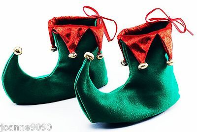 Deluxe Green and Red Elf Jester Pixie Shoes Boots Christmas Fancy Dress Costume