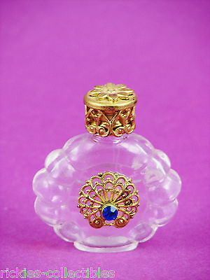 Clear Glass with Blue Bejeweled Filigree Czech Republic Perfume Bottle