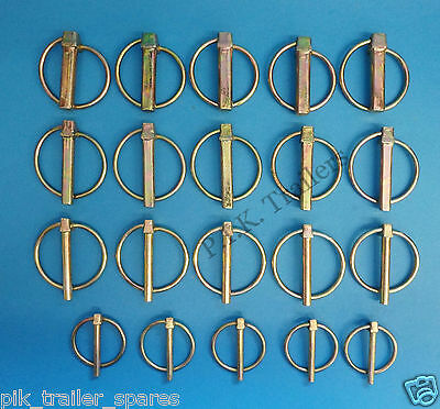 20 x Assorted Lynch Pins 5mm 6mm 8mm 10mm - 5 of each size - Trailer & Horse Box