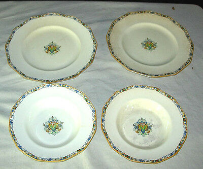2 PLATES & 2 BOWLS - BOOTHS SILICON CHINA MADE IN ENGLAND - ROUEN PATTERN