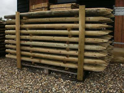 10 1.8M (6ft) X 60mm round HC4 pressure treated wooden fence fencing posts wood