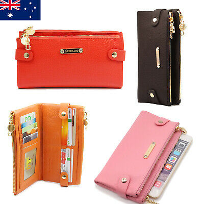 Soft Genuine Leather Double Zip Ladies Womens Wallet Purse For iPhone 6 7 8 Plus