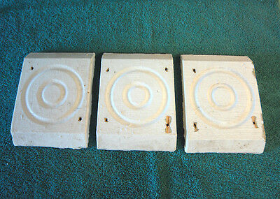 Set of 3 Antique Architectural Salvage Rosette Bullseye Old molding NY #1855-13