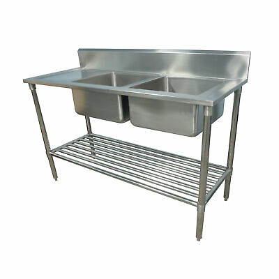2200x600mm NEW COMMERCIAL DOUBLE BOWL KITCHEN SINK #304 STAINLESS STEEL BENCH E0