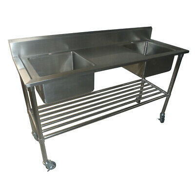 1900x600mm NEW COMMERCIAL DOUBLE BOWL KITCHEN SINK #304 STAINLESS STEEL BENCH