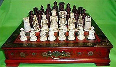 32 pieces chess set & Leather Wood Box Flower Bird Table