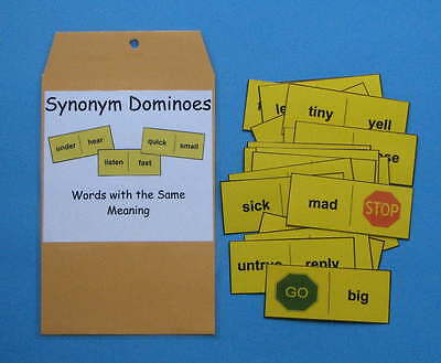 Teacher Made Literacy Center Resource Game Synonym Dominoes