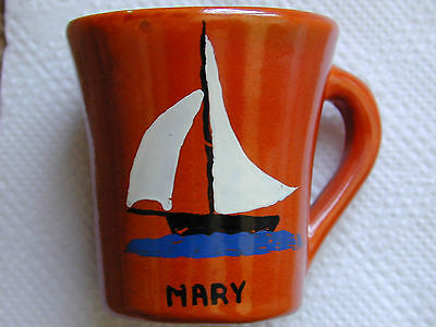 Catalina Pottery Hand Painted Childs Mug Signed! 1930's Look!!