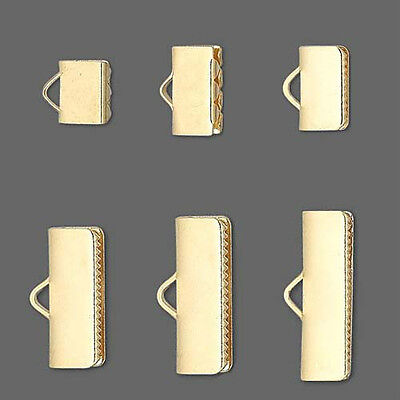 100 Gold Plated Pinch Ribbon Crimp End Findings with Teeth & Smooth Finish