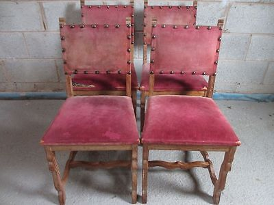 Set of 4 sturdy Oak Spanish style padded back dining chairs (ref 1237)