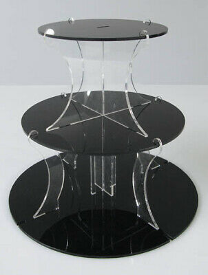 3 Tier Round Black Acrylic Wedding Cake & Party Cupcake Stand