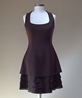 Roland Nivelais Sz 8 Brown Silk Ruffle Bottom Sleevless Dress Boutique Designer