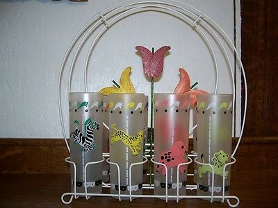 Vintage Metal Decorative Glass Carrier With Tulips in Center 8 Carousel Glass