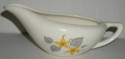Knowles Yellow Jasmine Gravy Bowl Boat Yellow Flower Gray Leaf