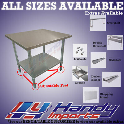 762 x 762mm NEW #304 S/STEEL COMMERCIAL FOOD GRADE KITCHEN PREP BENCH TABLE