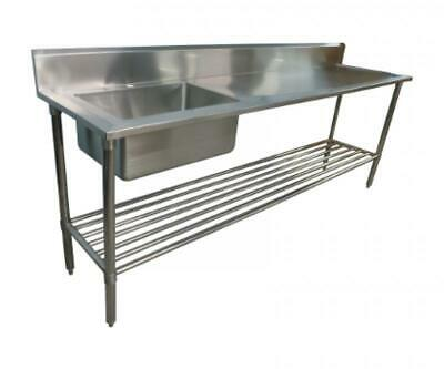 600x2400mm NEW COMMERCIAL SINGLE BOWL KITCHEN SINK #304 STAINLESS STEEL BENCH E0